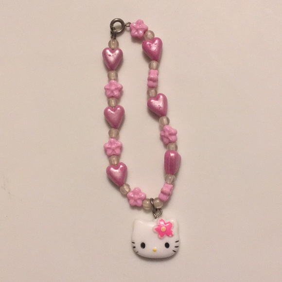 2fb80bf97 Hello Kitty Accessories | Pink Flower Heart Charm Bracelet | Poshmark